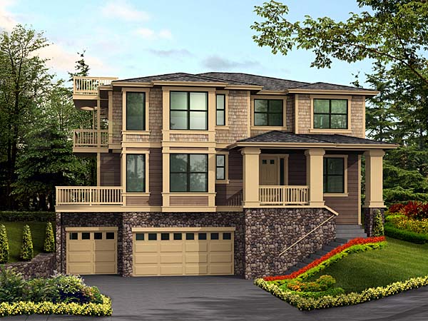 Contemporary Southwest Elevation of Plan 87568