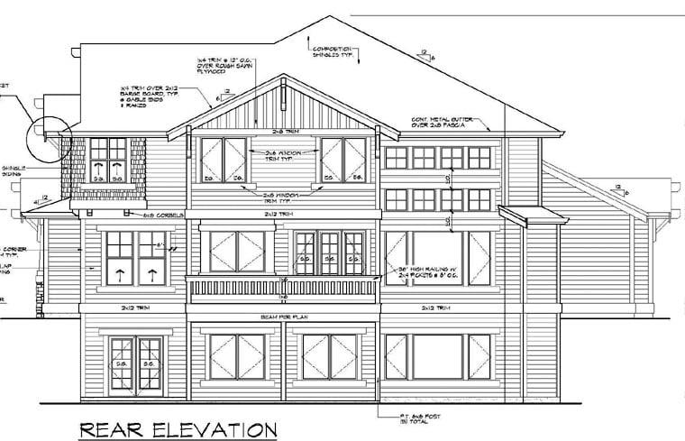 Bungalow Craftsman House Plan 87573 Rear Elevation