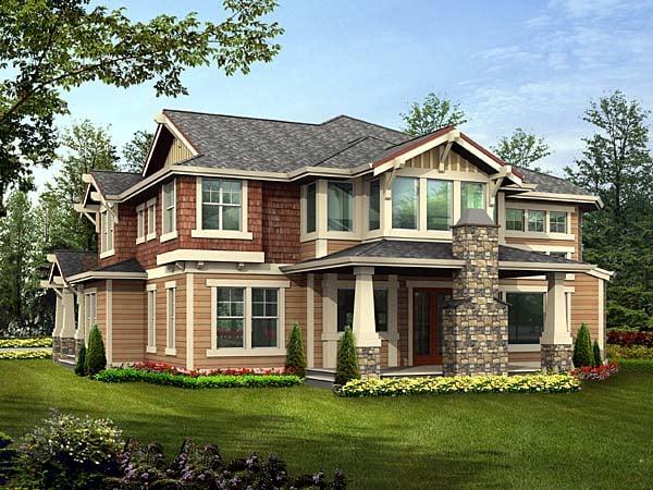 Bungalow Craftsman House Plan 87574 Rear Elevation