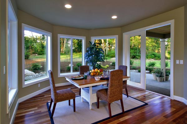 The breakfast area is a favorite spot for casual dining and bright morning sunshine.