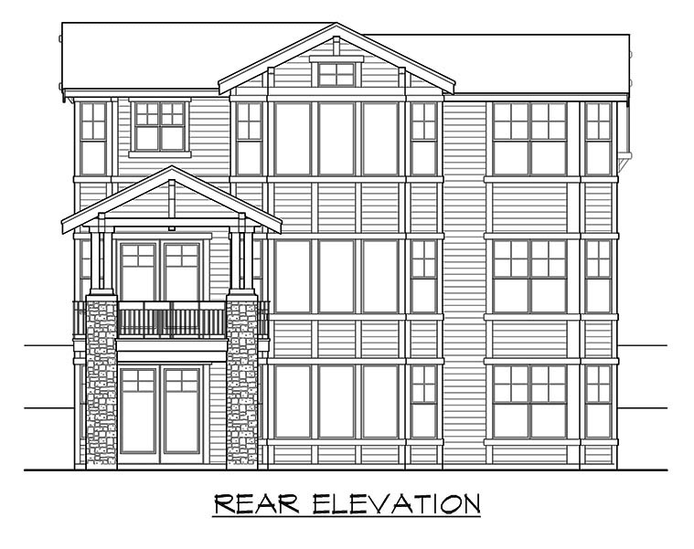 Contemporary Craftsman House Plan 87577 Rear Elevation