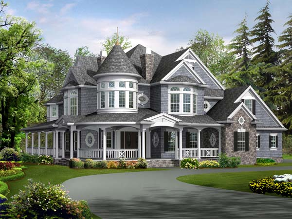 Farmhouse, Victorian Plan with 5250 Sq. Ft., 4 Bedrooms, 5 Bathrooms, 3 Car Garage Picture 2
