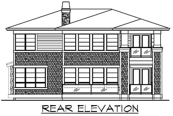 Prairie Style Southwest House Plan 87622 Rear Elevation