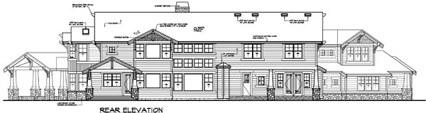 Contemporary House Plan 87637 with 4 Beds, 6 Baths, 3 Car Garage Rear Elevation