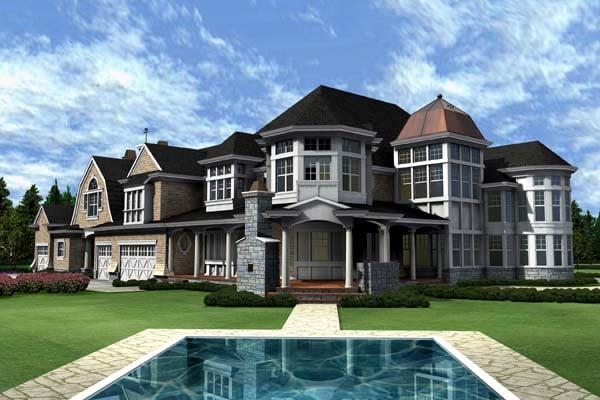 Coastal Farmhouse House Plan 87642 Rear Elevation