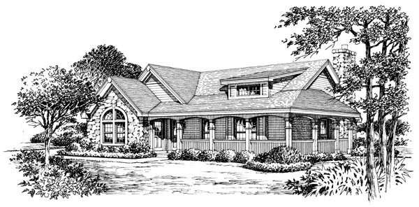 Bungalow, Country, Ranch House Plan 87806 with 2 Beds, 1 Baths, 2 Car Garage Picture 3