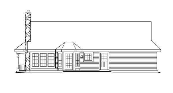Bungalow, Country, Ranch House Plan 87806 with 2 Beds, 1 Baths, 2 Car Garage Rear Elevation
