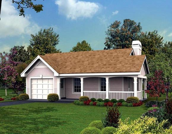 Cottage, Country, Ranch House Plan 87813 with 1 Beds, 1 Baths, 1 Car Garage Elevation