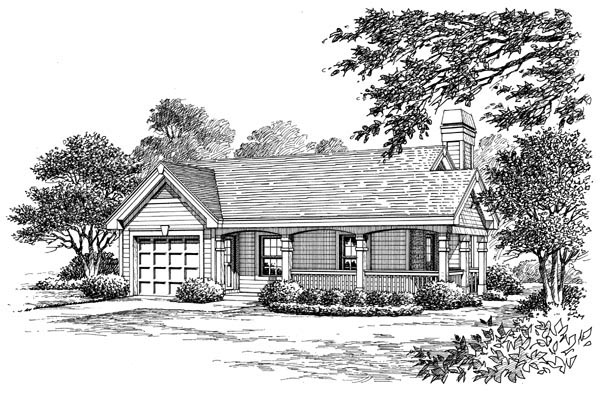 Cottage, Country, Ranch House Plan 87813 with 1 Beds, 1 Baths, 1 Car Garage Picture 3