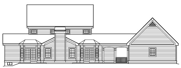 Country Southern Traditional House Plan 87818 Rear Elevation
