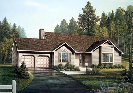 Ranch Elevation of Plan 87821