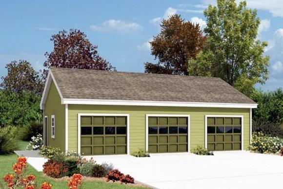 3 Car Garage Plan 87868 Elevation