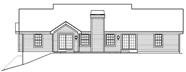 Country Ranch Southern Traditional House Plan 87872 Rear Elevation