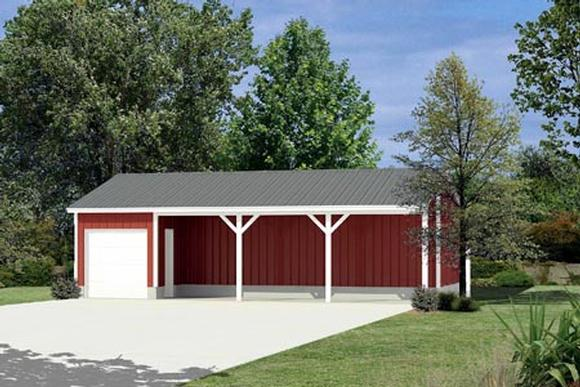 0 Car Garage Plan 87874 Elevation