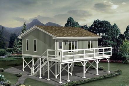 Cabin Elevation of Plan 87885