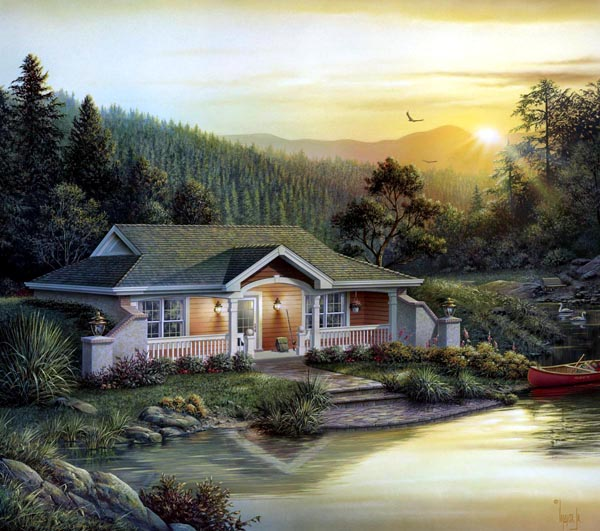 Cabin Cottage Country Craftsman Ranch Traditional House Plan 87887 Elevation