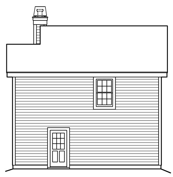 Cabin, Cottage, Country, Ranch, Traditional 2 Car Garage Apartment Plan 87891 with 1 Beds, 1 Baths Rear Elevation