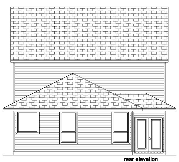 Traditional House Plan 87988 with 5 Beds, 4 Baths, 2 Car Garage Rear Elevation