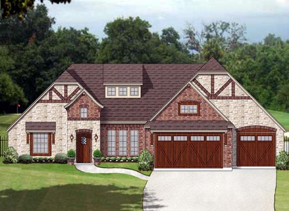 European, Traditional, Tudor House Plan 87992 with 3 Beds, 3 Baths, 3 Car Garage Elevation