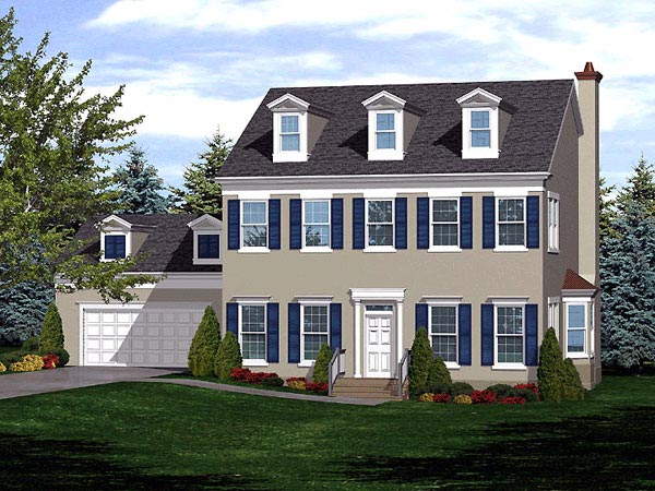 Colonial House Plan 88002 Elevation