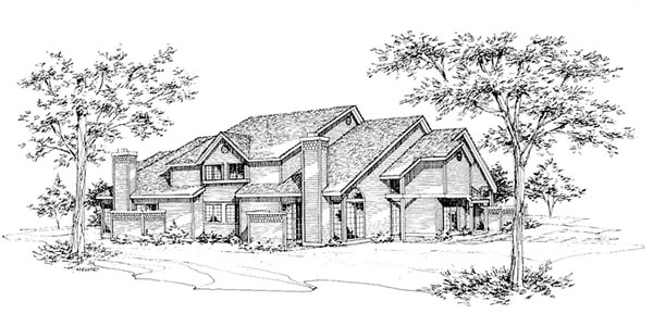 Traditional Multi-Family Plan 88407 Elevation