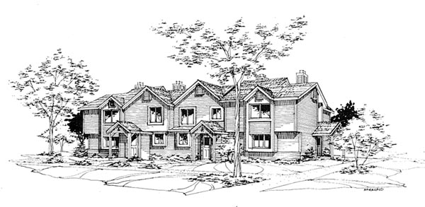 Traditional Multi-Family Plan 88408 Elevation