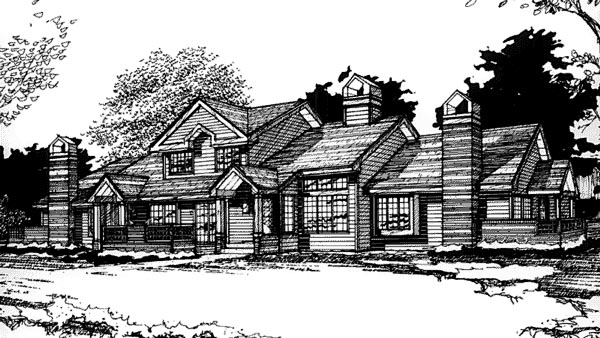 Traditional Multi-Family Plan 88411 Elevation