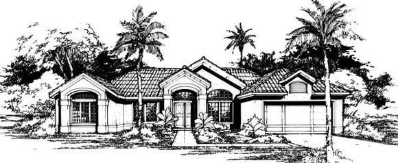 Mediterranean House Plan 88456 with 4 Beds, 3 Baths, 2 Car Garage Elevation