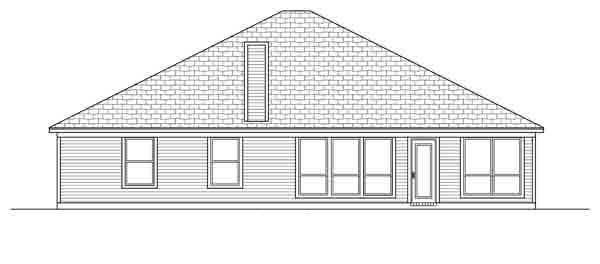 European Traditional House Plan 88616 Rear Elevation