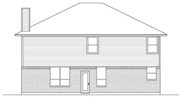Traditional House Plan 88620 with 4 Beds, 3 Baths, 2 Car Garage Rear Elevation
