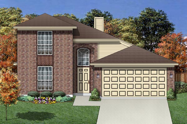 Traditional House Plan 88682 with 4 Beds, 3 Baths, 2 Car Garage Elevation