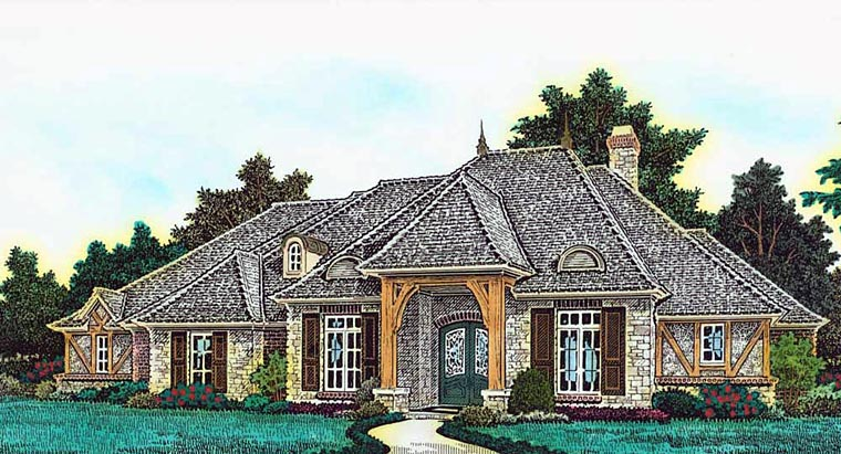 Country French Country House Plan 89401 Elevation
