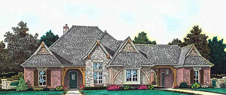 Country European French Country Tudor House Plan 89409 Elevation