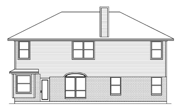 Rear Elevation of Traditional   House Plan 89862