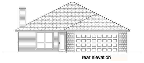 Narrow Lot One-Story Traditional Rear Elevation of Plan 89883