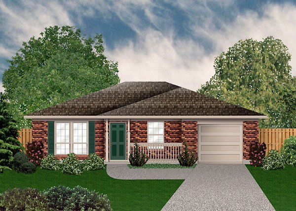 Traditional House Plan 89910 with 2 Beds, 1 Baths, 1 Car Garage Elevation