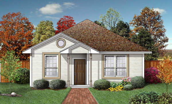 Narrow Lot, One-Story, Traditional House Plan 89965 with 2 Beds, 2 Baths Elevation