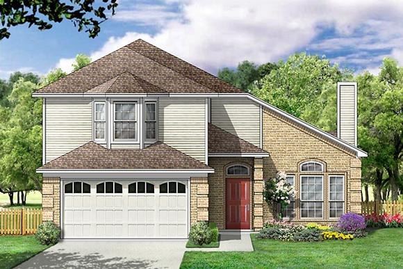 Contemporary House Plan 89994 with 4 Beds, 3 Baths, 2 Car Garage Elevation