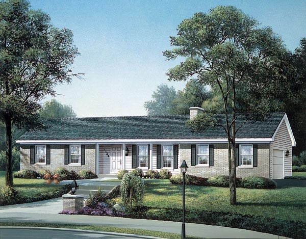 One-Story, Ranch House Plan 90105 with 3 Beds, 2 Baths, 2 Car Garage Elevation