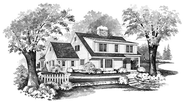 Cape Cod House Plan 90214 Rear Elevation