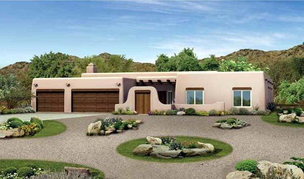 Santa Fe Southwest House Plan 90220 Elevation