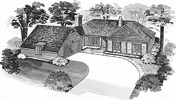 Bungalow, One-Story, Tudor House Plan 90221 with 3 Beds, 3 Baths Elevation