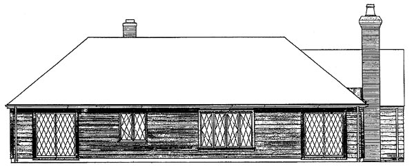 Bungalow, One-Story, Tudor House Plan 90221 with 3 Beds, 3 Baths Rear Elevation
