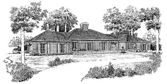 Traditional House Plan 90227 with 4 Beds, 3 Baths, 2 Car Garage Elevation