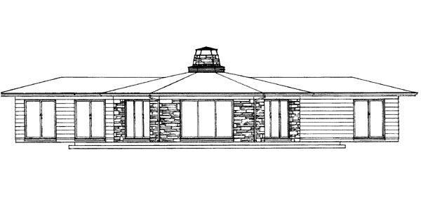 Contemporary, Ranch House Plan 90242 with 3 Beds, 2 Baths Rear Elevation