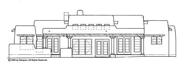 Santa Fe Southwest House Plan 90259 Rear Elevation