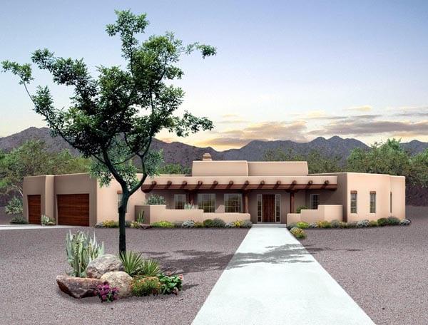 Santa Fe Southwest House Plan 90273 Elevation