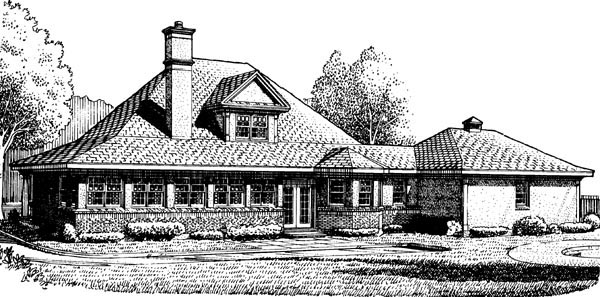 Country Farmhouse Southern House Plan 90318 Elevation
