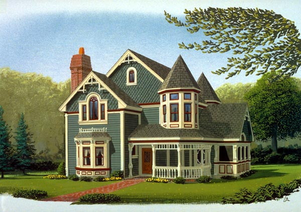 Contemporary Country Farmhouse Victorian House Plan 90342 Elevation
