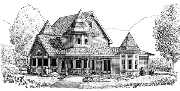 Contemporary Country Farmhouse Victorian House Plan 90342 Rear Elevation